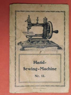 Hand Sewing Machine Nr. 12 Instruction Foldout Booklet 1800s (Book-5
