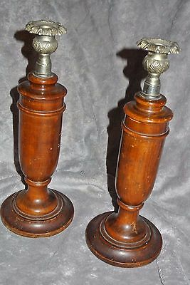 Art deco style antique wood candlesticks oak urn shape with chrome thistle sconc