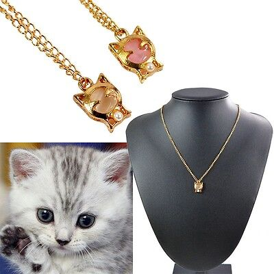 Women Charm Cute Lucky White Pink Opal Smile Cat Pendant Fashion Necklace