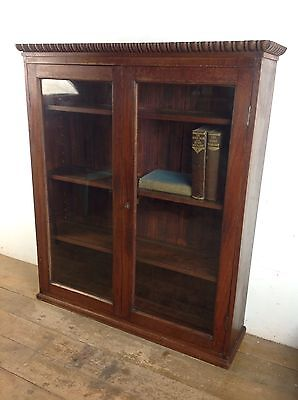 Victorian Glass Display Wall Cabinet Antique Old Wood Glazed Book Case Mahogany