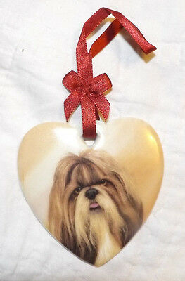 "I Love My SHIH TZU Dog 3"" Heart Shaped Ceramic Ornament Christmas Holiday SWEET!"