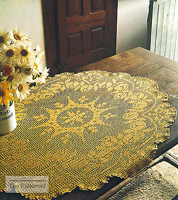 Vintage Filet Crochet Pattern For Centerpiece Large Doily Table