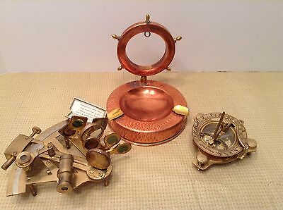Maritime Brass Sundial Compass Built In Nautical + Brass Sextant + Ashtray