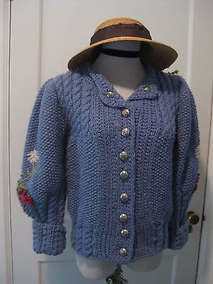 Vtg 80's Does Victorian Blue Floral Puff Sleeve Cardigan Sweater S M Hand Knit