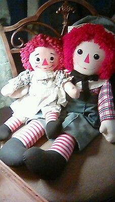 Vintage Raggedy Ann and Andy Knickerbocker 16 & 24 inch I Love You