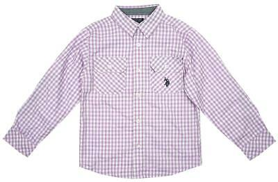 Boys US Polo Check Roll Sleeve Cotton Fashion Shirt Lilac 12 Months to 7 Years