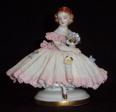 Antique German Porcelain Dresden Lace Victorian Seated Lady Girl Figurine