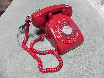 1965 Red Western Electric Bell System 500 Rotary Desk Telephone-Restored-Nice