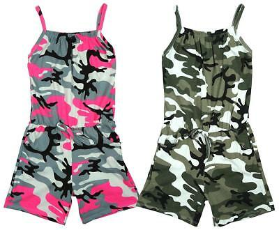 Girls Neon Army Camo Strap Shorts Playsuit Summer All in One Romper 3 - 12 Years