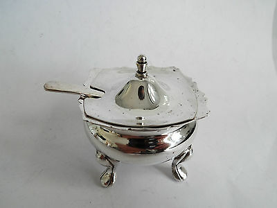 Vintage Silver Plate Mustard Pot With Bristol Blue Glass Liner Stamped Viners