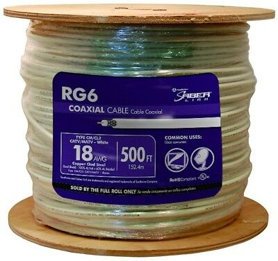 Coaxial Cable 500 ft. White RG6 18 AWG Connects TV and Video Sources New Best