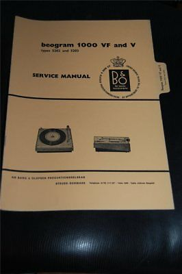 Service Manual Bang&Olufsen beogram 1000 VF and V