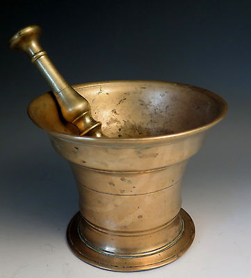Antique 18th c Bell Brass Mortar & Pestle