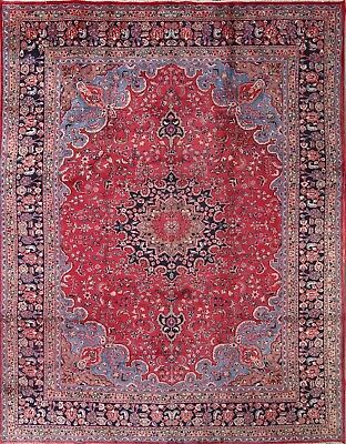 "Semi-Antique Pink Floral 10x13 Mashad Persian Oriental Area Rug 12' 9"" x 9' 8"""