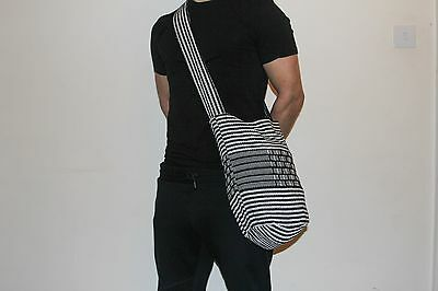 UNISEX traditional Colombian Mochila - black and white stripes