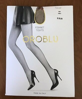 Oroblu Tricot Fishnet Tights Size Small Medium Nude Sable Beige Italy New
