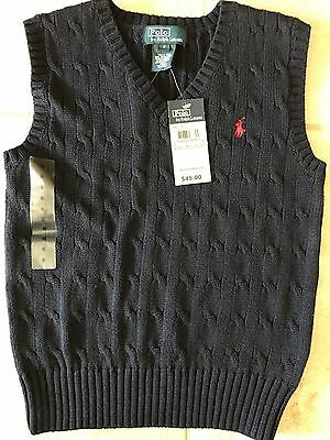 NWT POLO RALPH LAUREN Boys Size 6 Vest Kids Toddler Cable Sweater Cotton