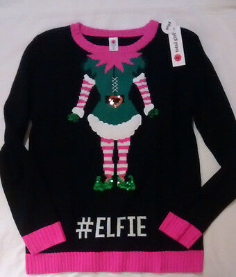 Total Girl Plus Girls Christmas Elf Sweater, Size XL 18.5 NWT