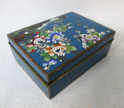 Signed Kyoto Inaba  Japanese Cloisonne Blue & Floral Box