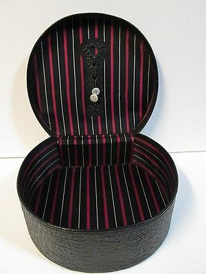 Vintage Unique & Stylish Black Faux Leather Wig-Hat Storage Box