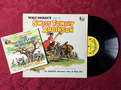 Swiss Family Robinson Vintage DISNEY Record Lot DQ-1280 & 357 SEE HEAR READ Book