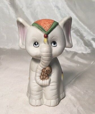 Rare Adorable Vintage Hand Painted Ceramic Baby Circus Elephant & Mouse Figurine