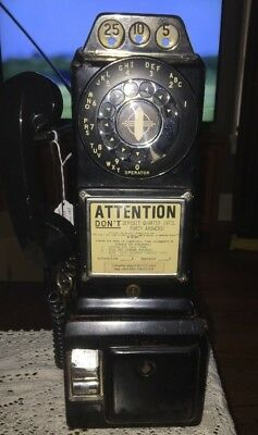 Vintage Automatic Electric Company 3 Coin Rotary Dial Pay Phone