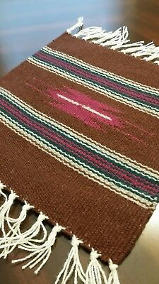 Chimayo 100% Wool Textile 10 X 10 Wine Center Weaving Made in  Northern N.M. USA