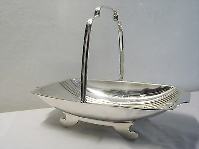 Art Deco English Silver Plated Handled Bread Rolls Basket / Fruit Bowl / Dish
