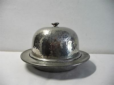 Vintage England Period Pewter Hot Muffin Dish Hammered Deco