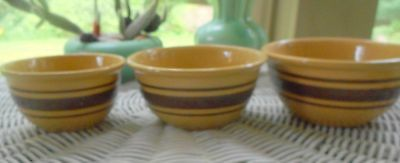 "Very Small  Set of 3 nesting Yellow Ware Stoneware Bowls (4.75"",4.25"", 3.75"" )"
