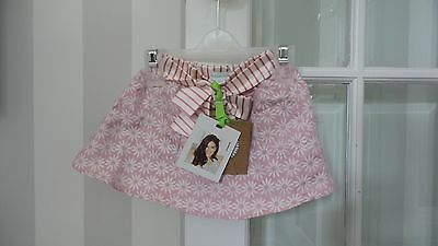 Margherita Girls Jacquard Pink Daisy Skirt Brand New 6-9M RRP £40