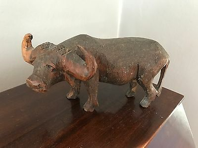"Vintage Hand-carved Dark Wood 7.5""  Water Buffalo Sculpture"