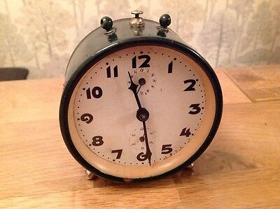 Antique Alarm Clock Green Painted Metal Wound And Working Original Condition