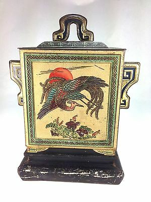 ANTIQUE  VERY RARE 1920s HUNTLEY & PALMERS BISCUIT TIN PEACOCK CHINESE MOTIF BOX