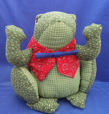 "Kitchen Shelf Stuffed Cloth Sitting FROG Display Red Vest Blue Tie 11"" Jeremiah"