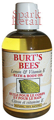 Burt's Bees Organic Lemon and Vitamin E BATH & BODY OIL 115ml 100% Natural