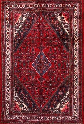 Great Deal Hand Knotted Geometric Red 7x10 Hamadan Persian Oriental Area Rug