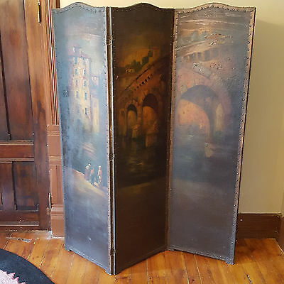 19th C. FRENCH 3-FOLD WOOD SCREEN ORIGINAL OIL PAINTING LANDSCAPE We can Deliver
