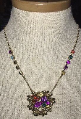 RARE Betsey Johnson Chunky Colorful Jeweled Gold Necklace Pendant