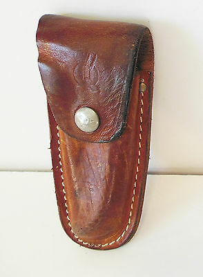 RARE 1960's Vintage Queen Cutlery Leather Large Pocket Knife Belt Sheath Case