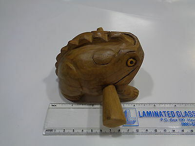 Large Hand Carved Wooden Croaking Frog  - Makes A Percussion Sound like Croaking