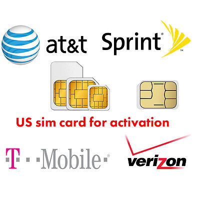 US Activation sim card Verizon T-Mobile AT&T Sprint for iPhone 5 5C 5S 6 6S 7