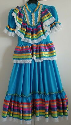 Mexican Folkloric Traditional Jalisco Style Dance Blue Dress Size 10-12