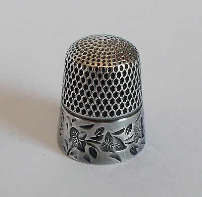 Sterling Silver Thimble - Goldsmith, Stern - Stylized Flowers