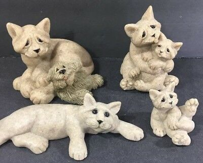 Lot Of 4 Quarry Critters Cat Kitten Figurines Chelsea Clyde Celine Cleo Cari Don