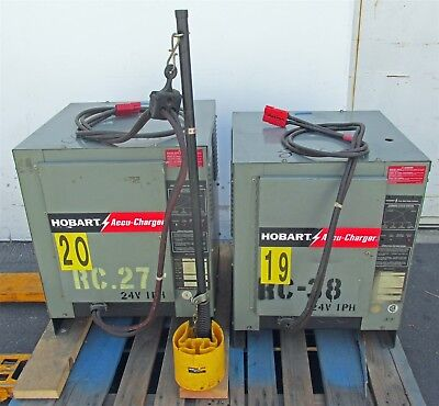 2 Hobart Forklift Battery Chargers 24VDC 120A 1PH 12 Cell 600B1-12 Accu-Charger