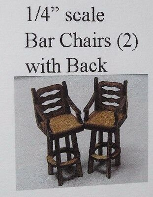 "1/4"" Scale Bar Chairs, Wood Kit-Dollhouse Miniature"
