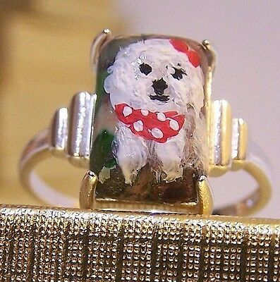 HANDPAINTED BICHON FRISE COPPER TURQUOISE GEM SOLID 925 STERLING RING  size 7.5