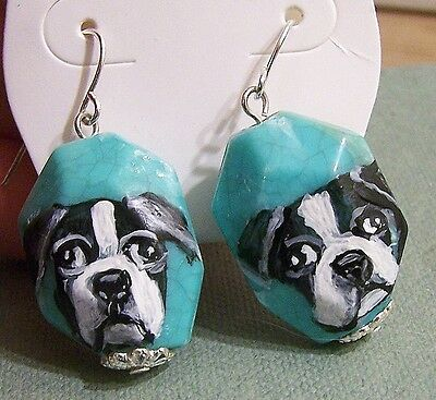 "hand painted Boston Terrier on turquoise  silver tone dangle earrings 1"" long"